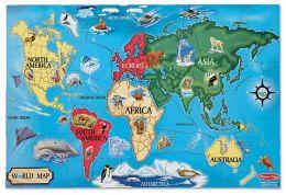 Puzzle podłogowe Mapa Świata 33szt.