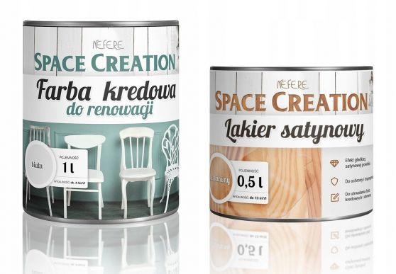 Zestaw Farba kredowa biała 1l + lakier satynowy 500ml